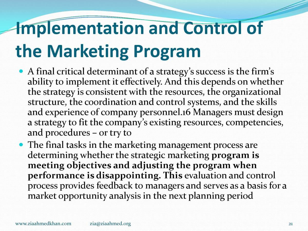 Marketing Program Control and Analysis