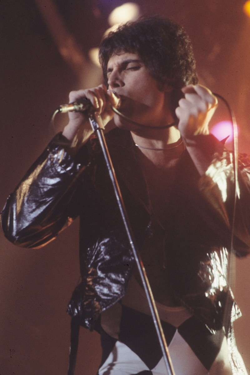Freddie Mercury from the famous rock band, Queen, who had many hits in the 80s.