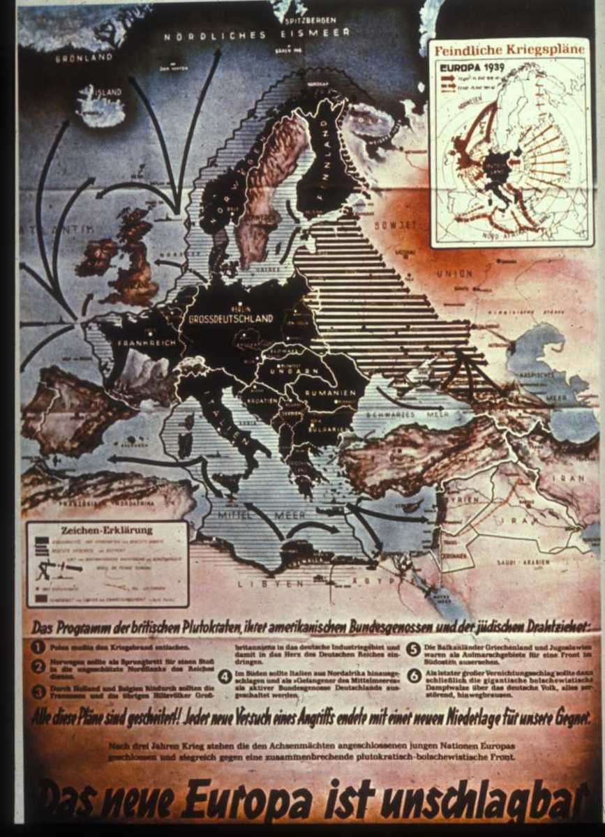 "Nazi poster - The New Europe cannot be defeated."" The rest of the text explains that the plans of British plutocrats and their American allies, as well as the Jews behind them, have failed."