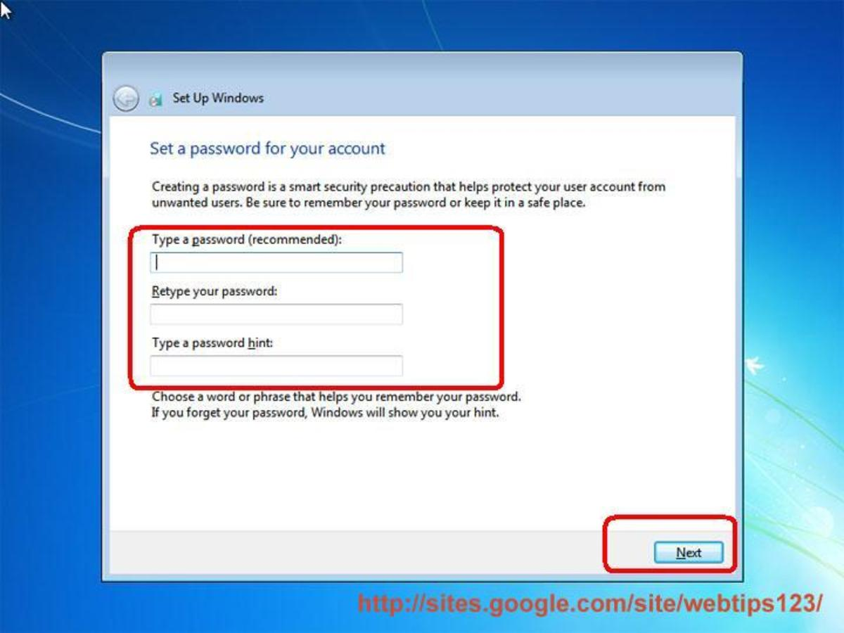 Placing your password