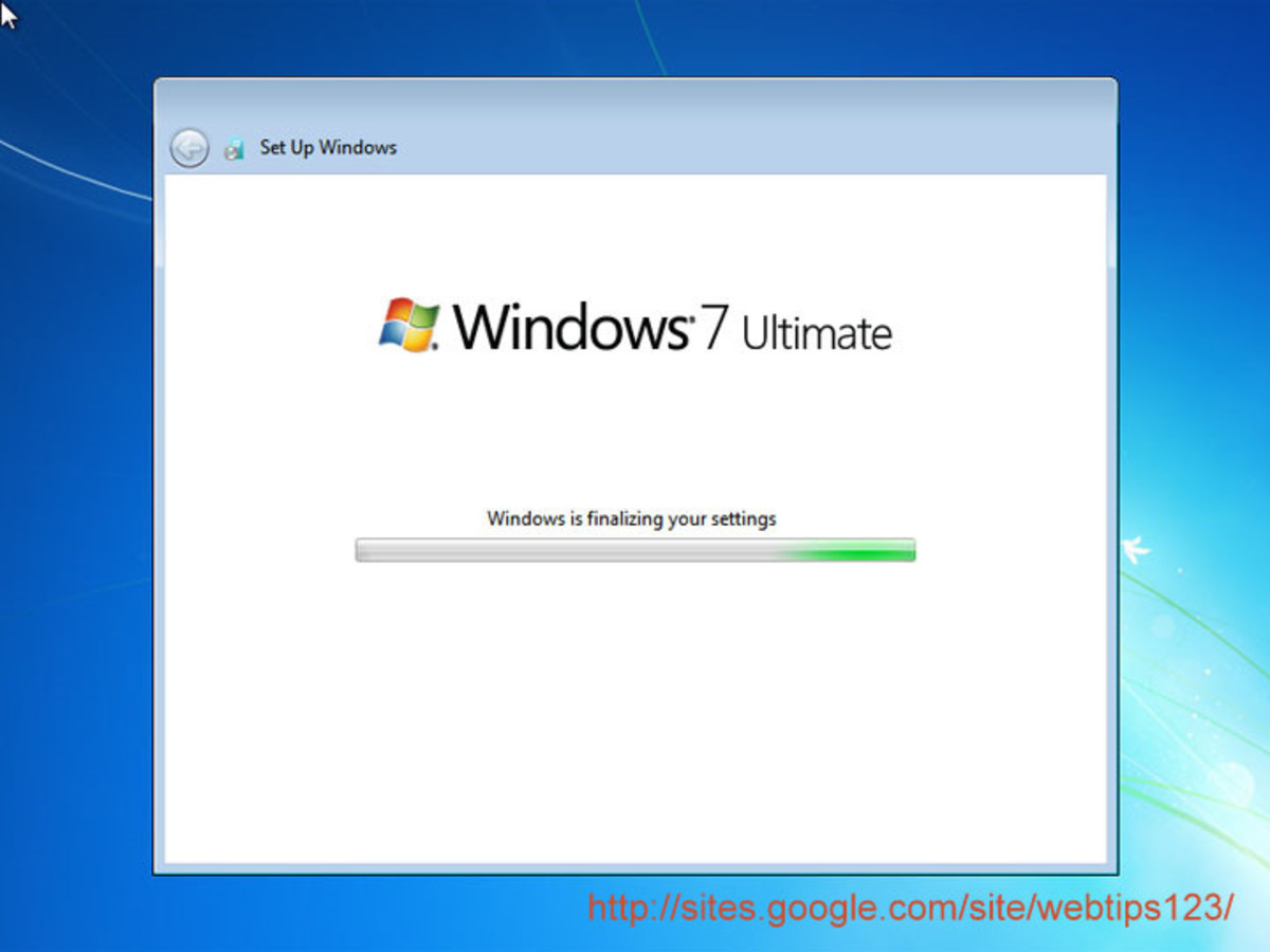 Finalizing settings window of Windows 7