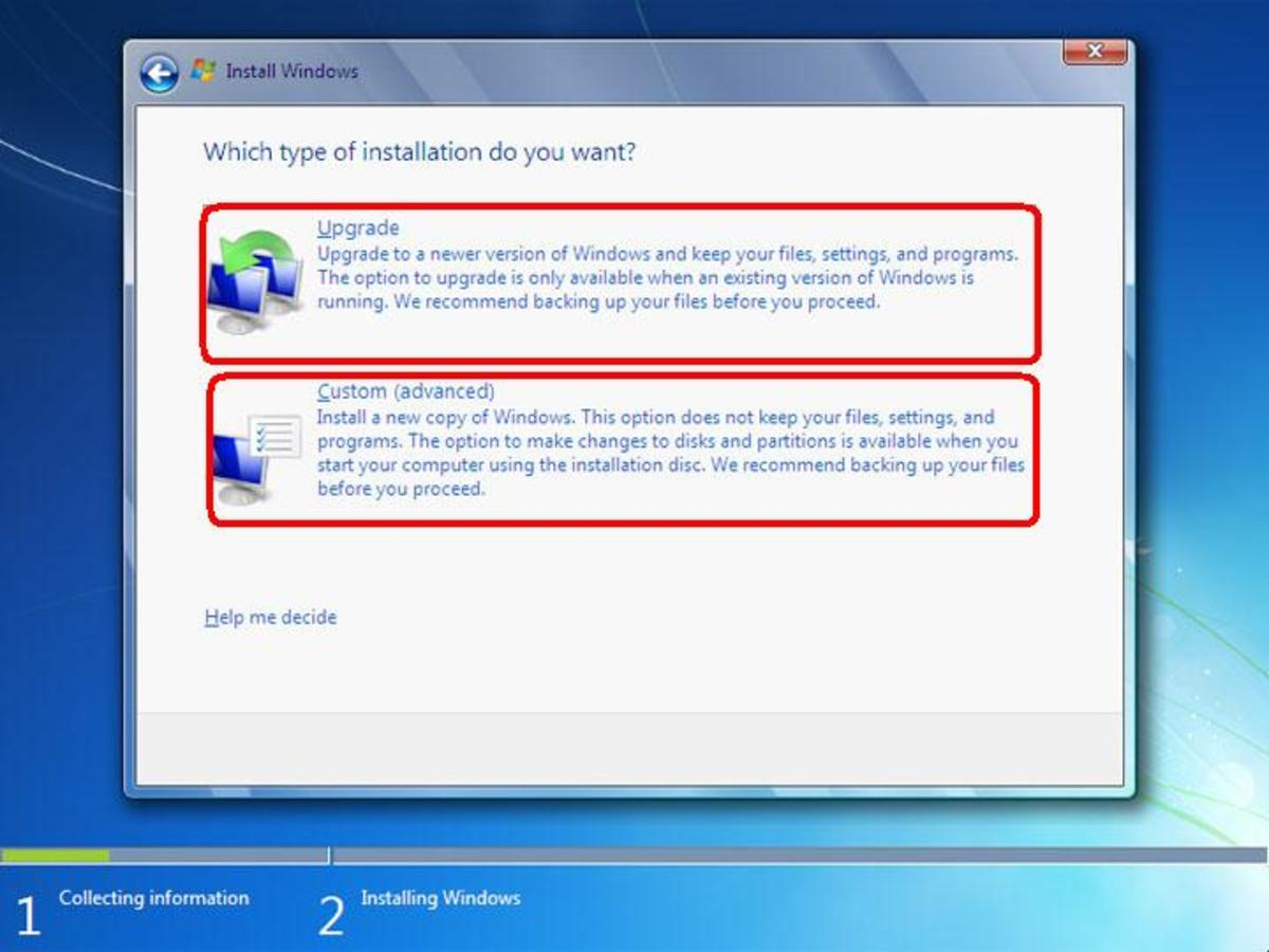 Windows 7 installation method selection