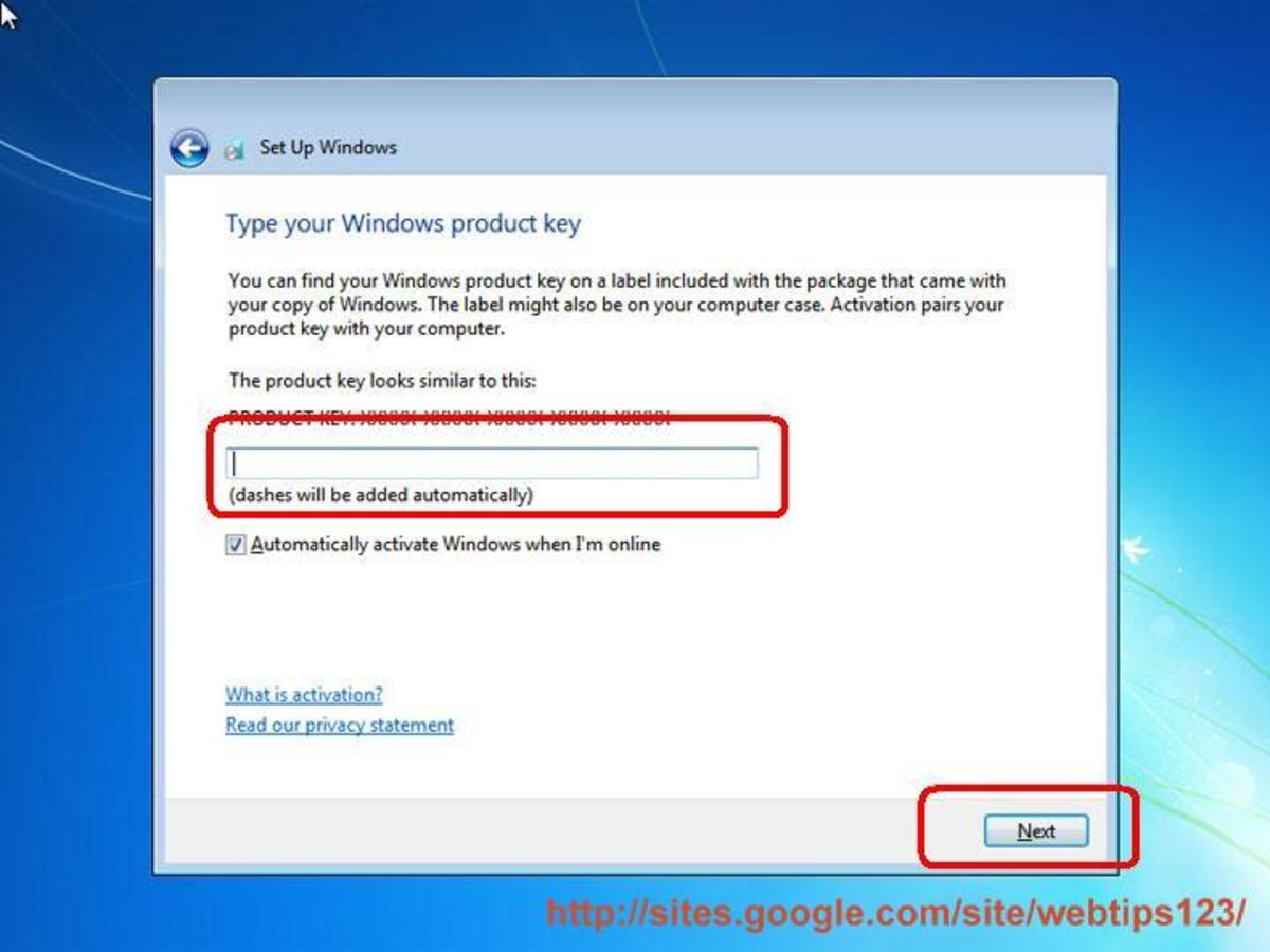 Setting Windows 7 product key