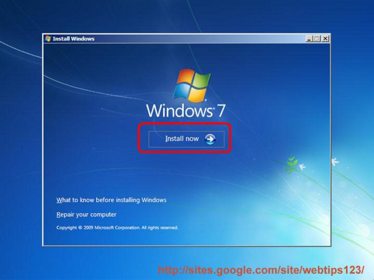 "Click on ""Install now"" button to begin Windows 7 installation"
