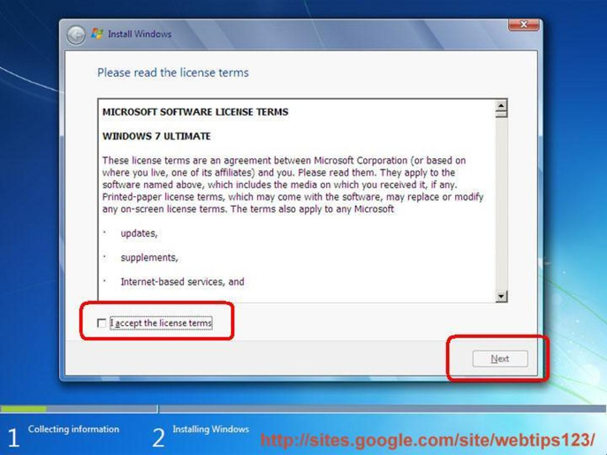 Windows 7 license agreement window