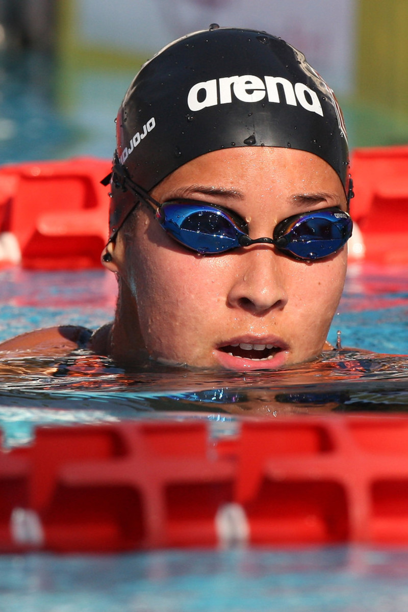 Swimmer Ranomi Kromowidjojo looks on as she is in the water in Rome, Italy.