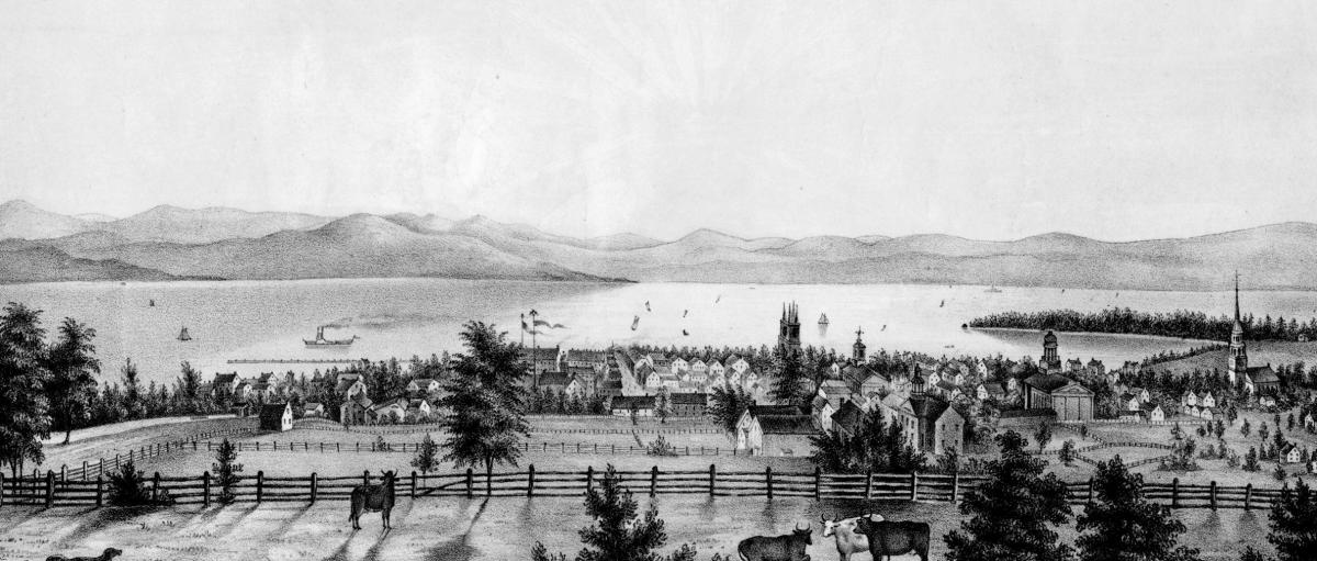 Looking West from the University Green 1840s