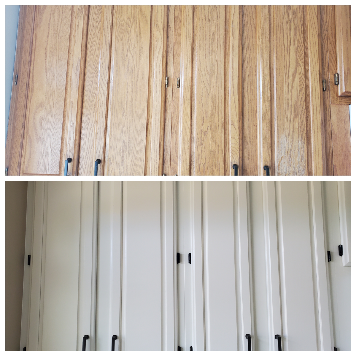 Oak cabinets I filled with drywall mud and spray painted.