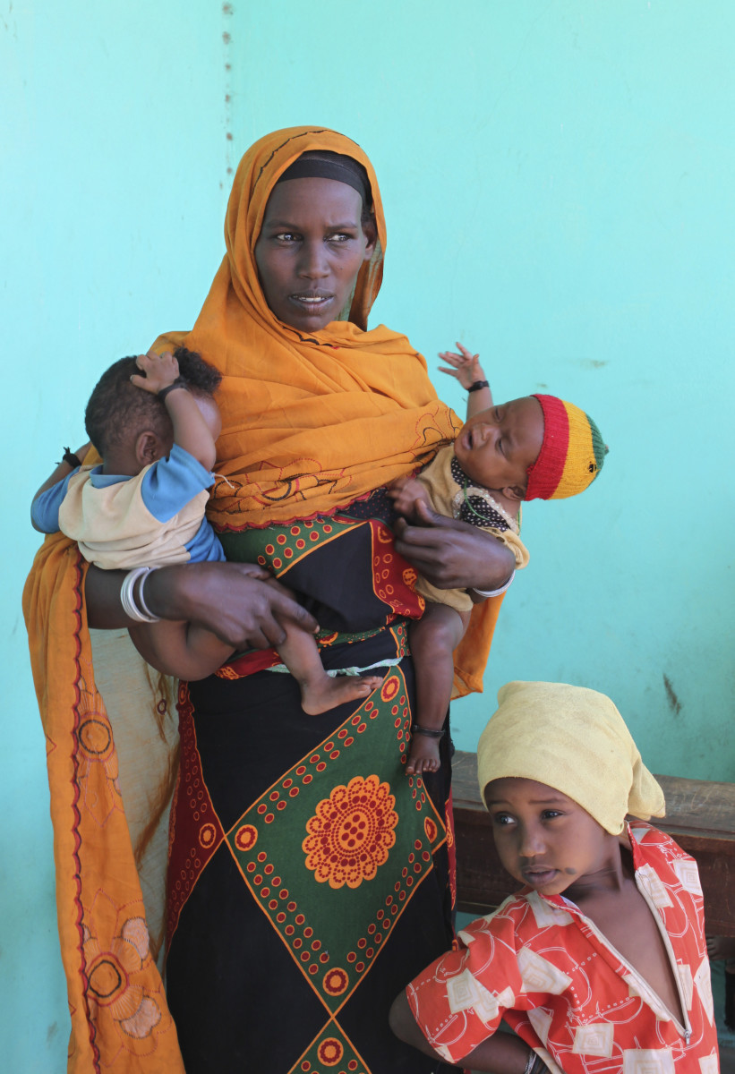 A woman and her children at a health clinic in southern Ethiopia.