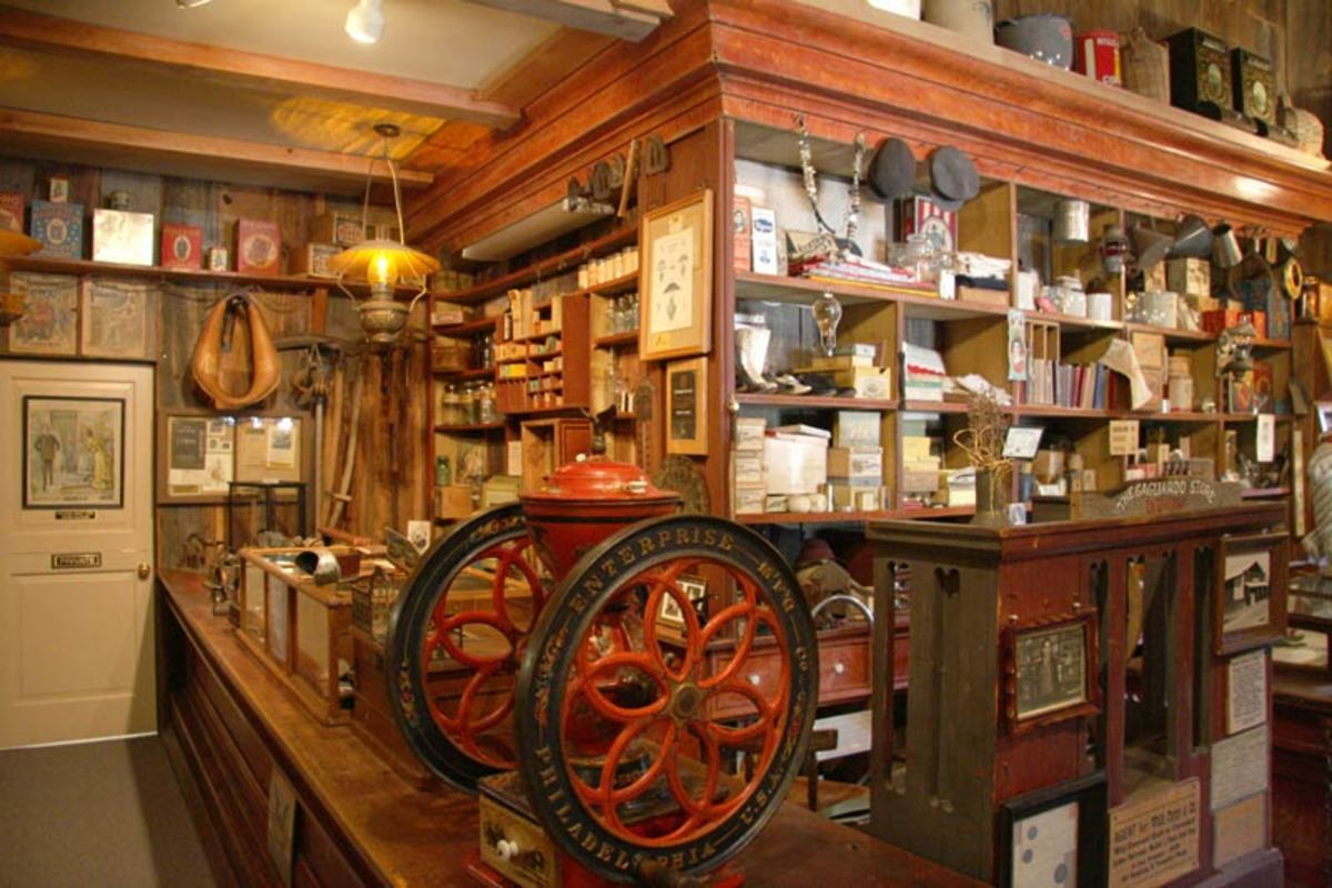 General store exhibit in the Mariposa Museum and History Center. Items collected by pioneer families give a glimpse of earlier days in California.