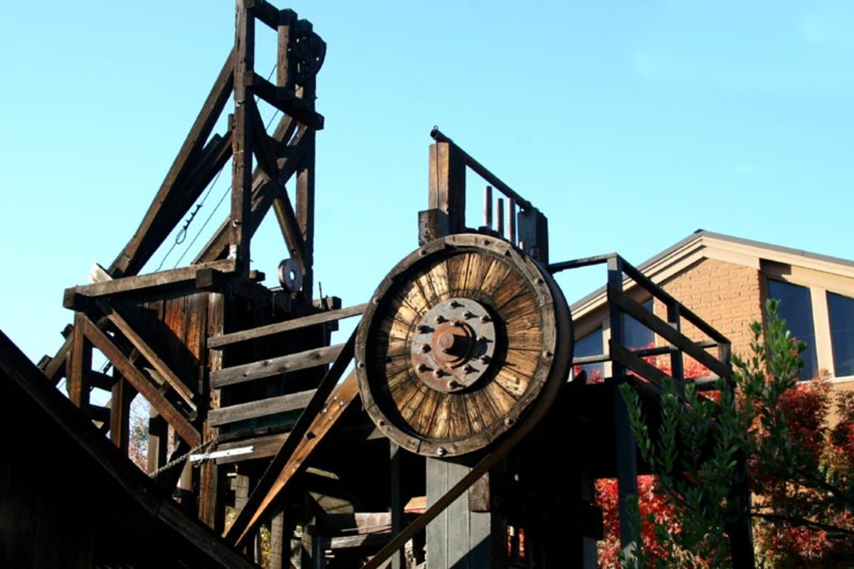 Gold ore-crushing stamp-mill at the history museum. The stamp mill still runs, thanks to museum volunteers.