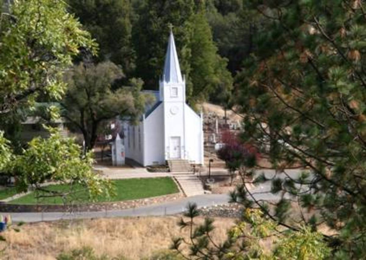 St. Josephs Catholic Church, built in 1862. The Historic church stands on land originally donated by the mining company in Mariposa.