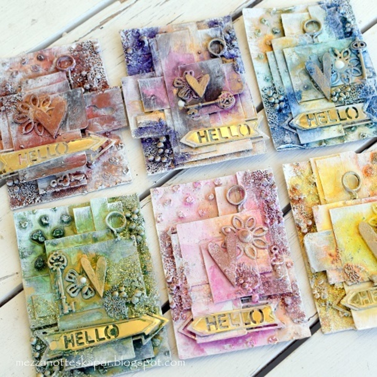 Lovely layered ATC cards. Learn this delightful technique