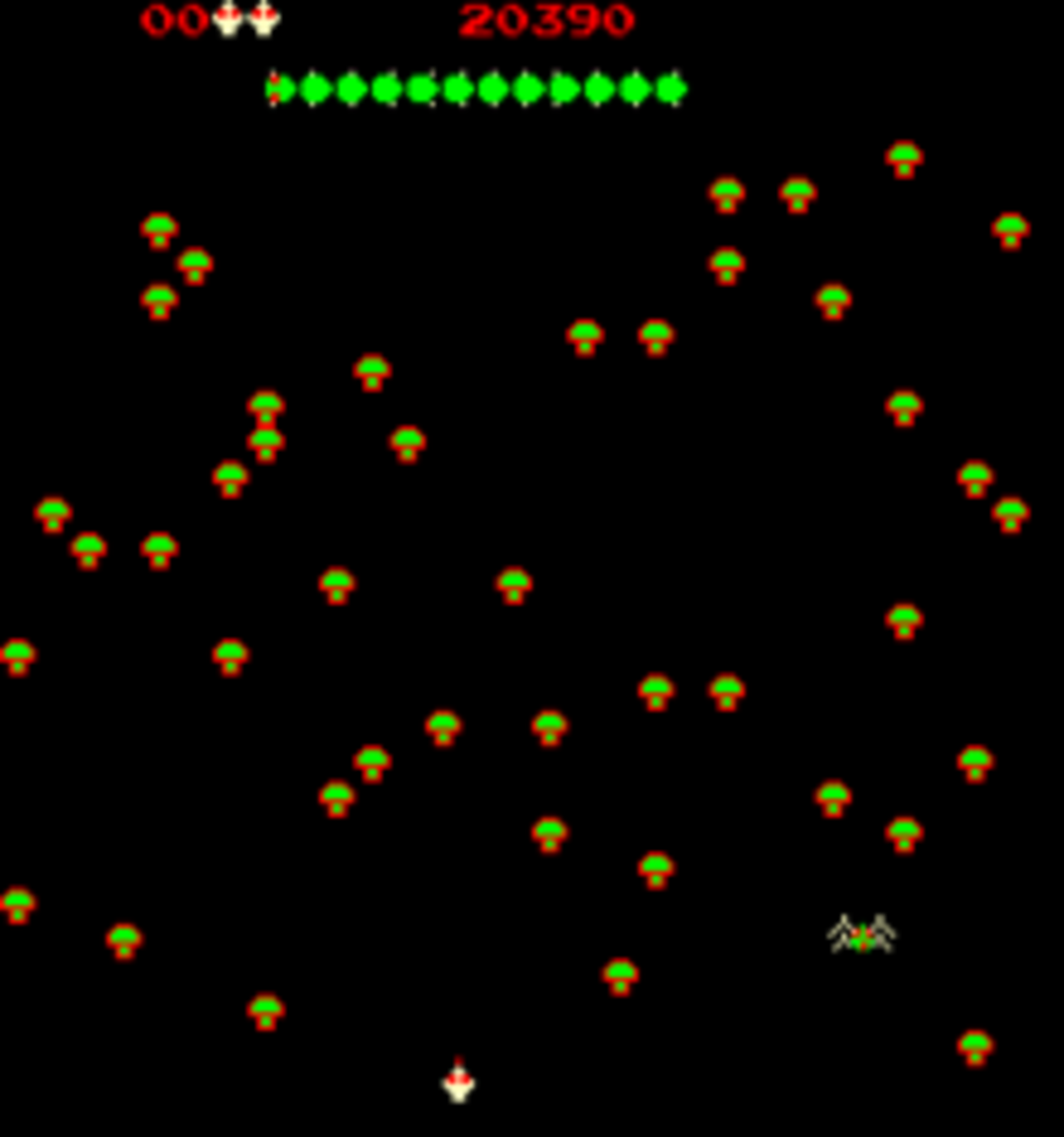 The Centipede Begins It's Descent In The Atari Arcade Game...