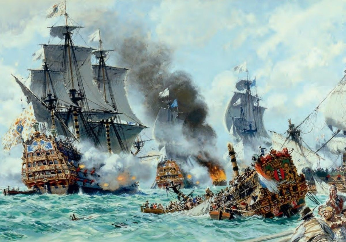 """French warship """"Soleil Royale"""" in the battle of Beachy Head"""