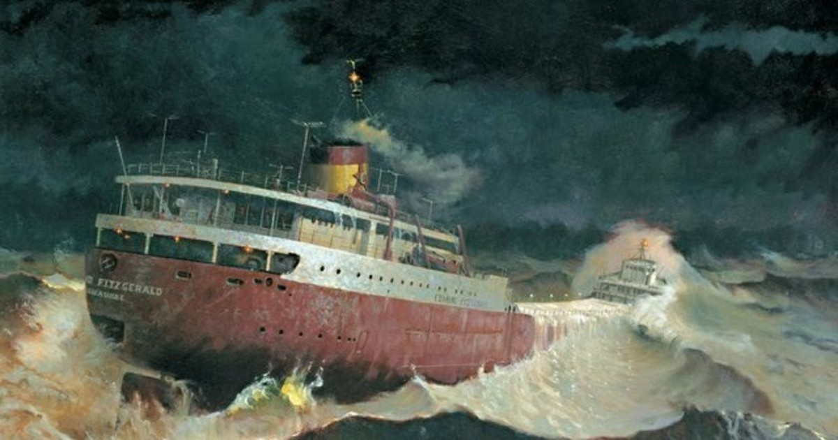 """An artist's rendering of the heavy seas that swamped the 'Fitz"""" that evening"""