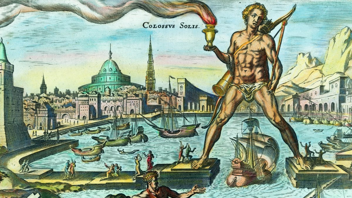 The traditional view of the Colossus of Rhodes--but it is unlikely that he straddled the harbor entrance as seen here