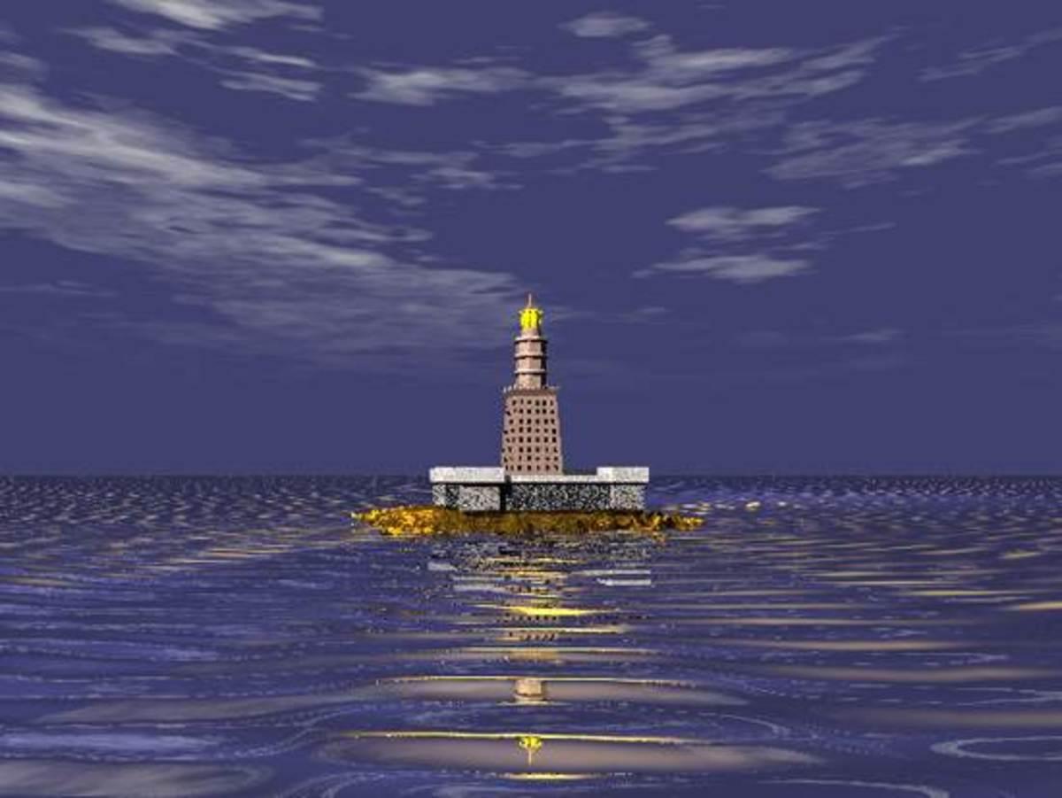 The Pharos at night, visible from far away at sea