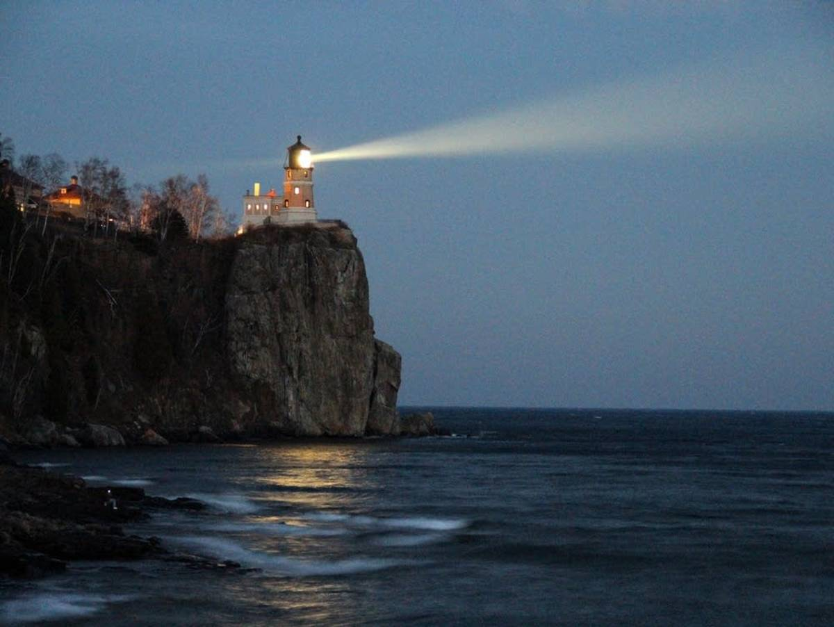 Split Rock Light at night.  Its powerful beam is visible many miles at sea
