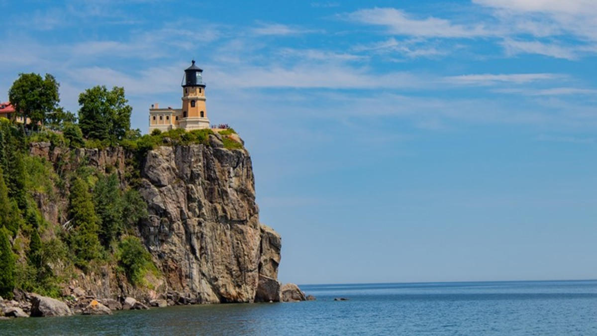 Split Rock Light.  Although of short stature, its lofty position serves as an aid to navigation