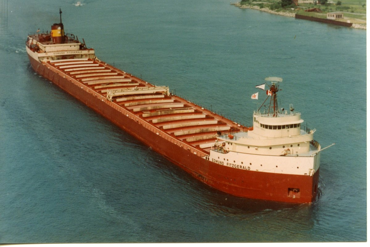 """The """"Edmund Fitzgerald"""", launched 1958, sank 1975.  Despite its impressive size, it proved no match for Lake Superior that November night."""