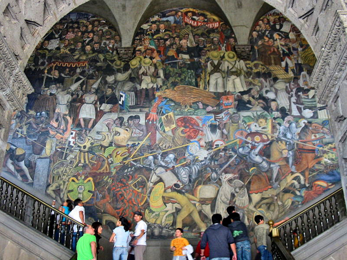 The History of Mexico,  by Diego Rivera.  Mural painted on the wall of the National Palace in Mexico City, Mexico.