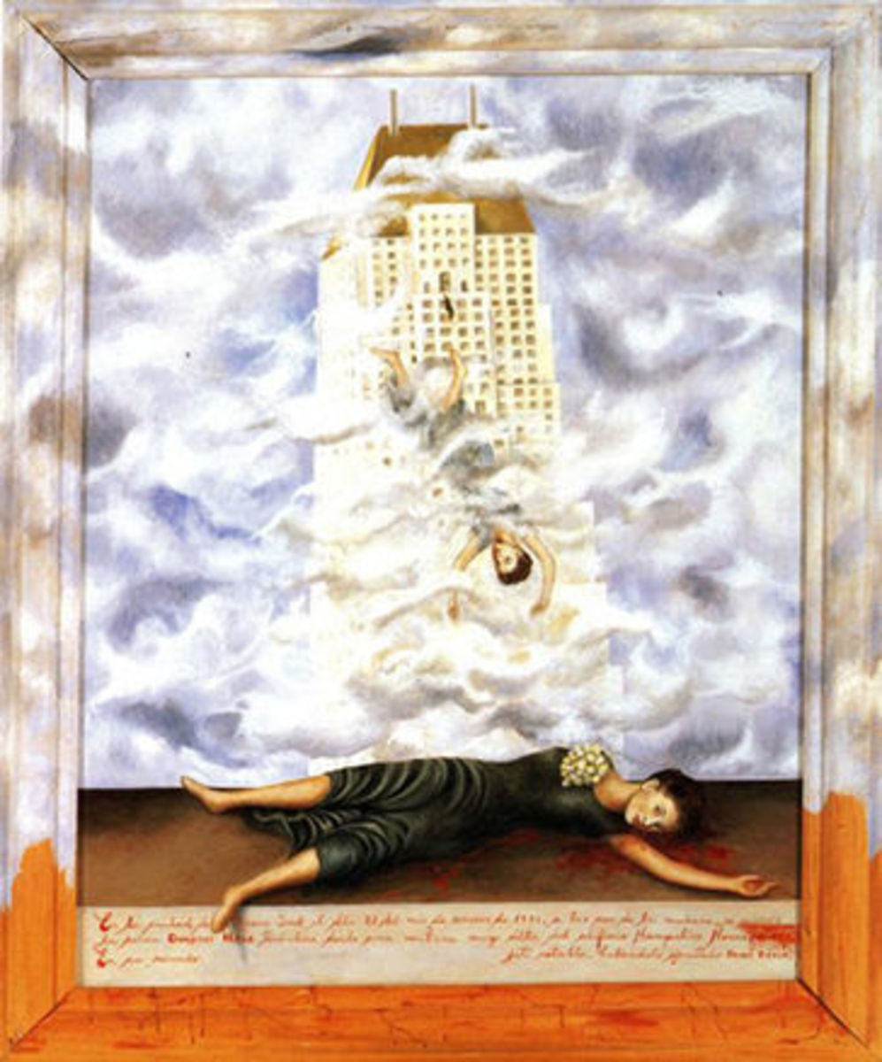 The Suicide of Dorothy Hale.  by Frida Kahlo Dorothy Hale, an important society woman in Mexico City, is painted to look very much like Frida Kahlo herself, who could understand the pain and psychological problems of a person who would take her own l