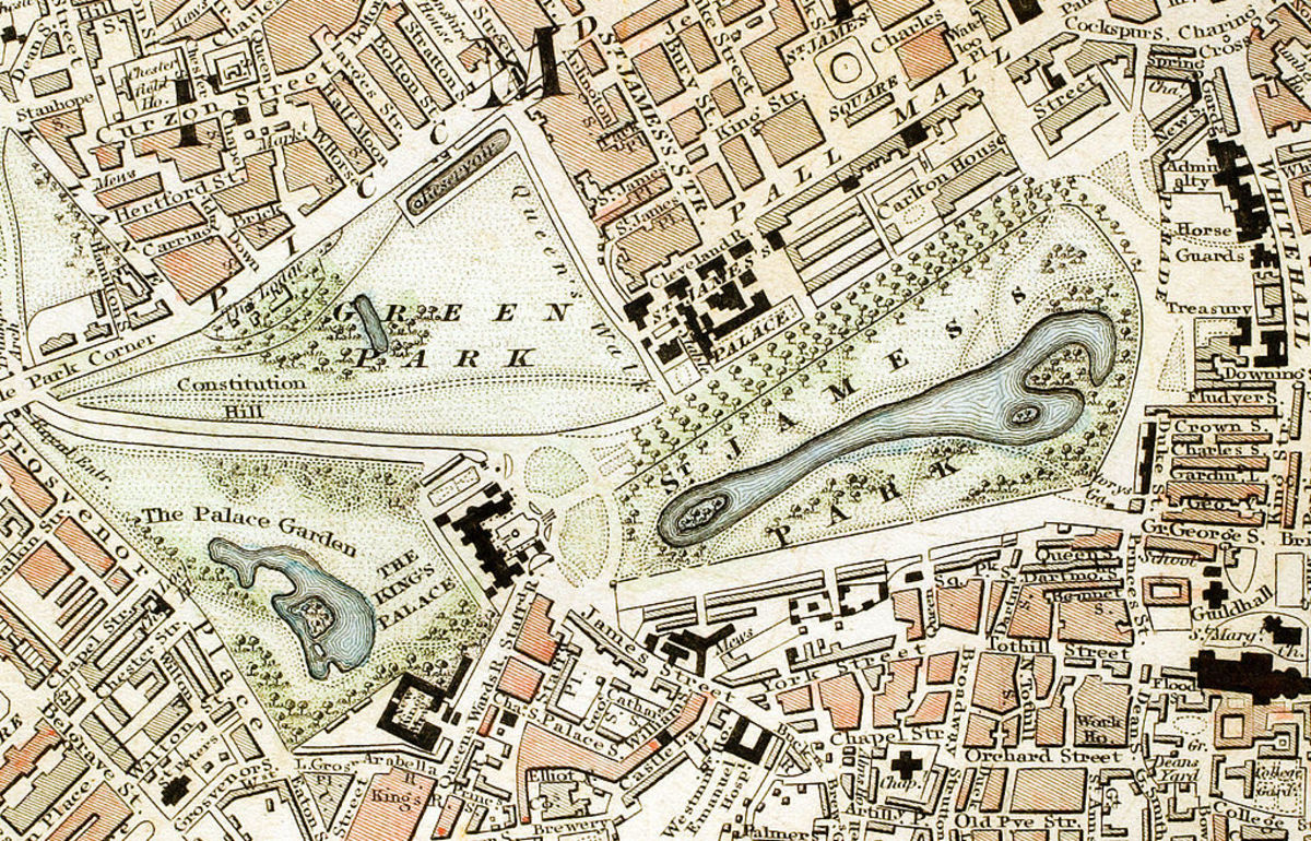 The royal parks and roads around Buckingham Palace circa 1833. (Buckingham Palace is shown as The King's Palace.)
