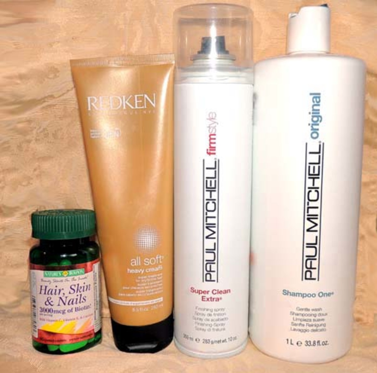 Paul Mitchell: Shampoo # 1; Paul Mitchell: Super Clean Extra (hairspray) Redken: All-Soft Heavy Cream (creme rinse) and the occasional: Hair Vitamin