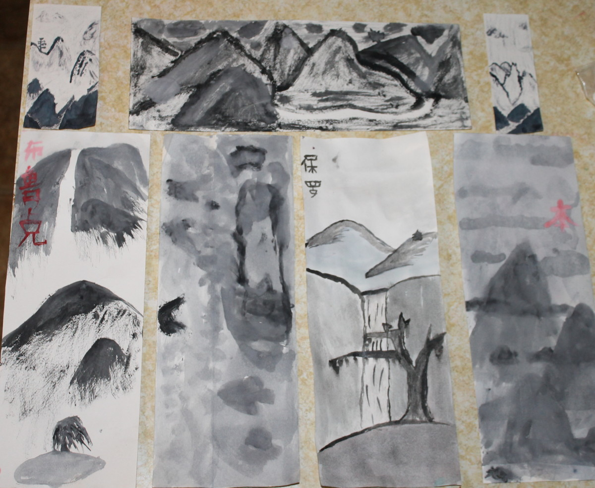 Some of the Chinese watercolor landscapes painted by elementary and middle school aged children