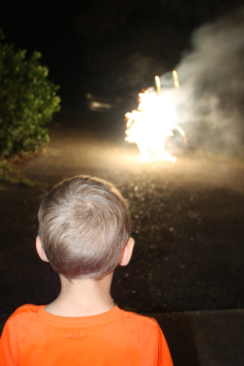 Setting off small fireworks