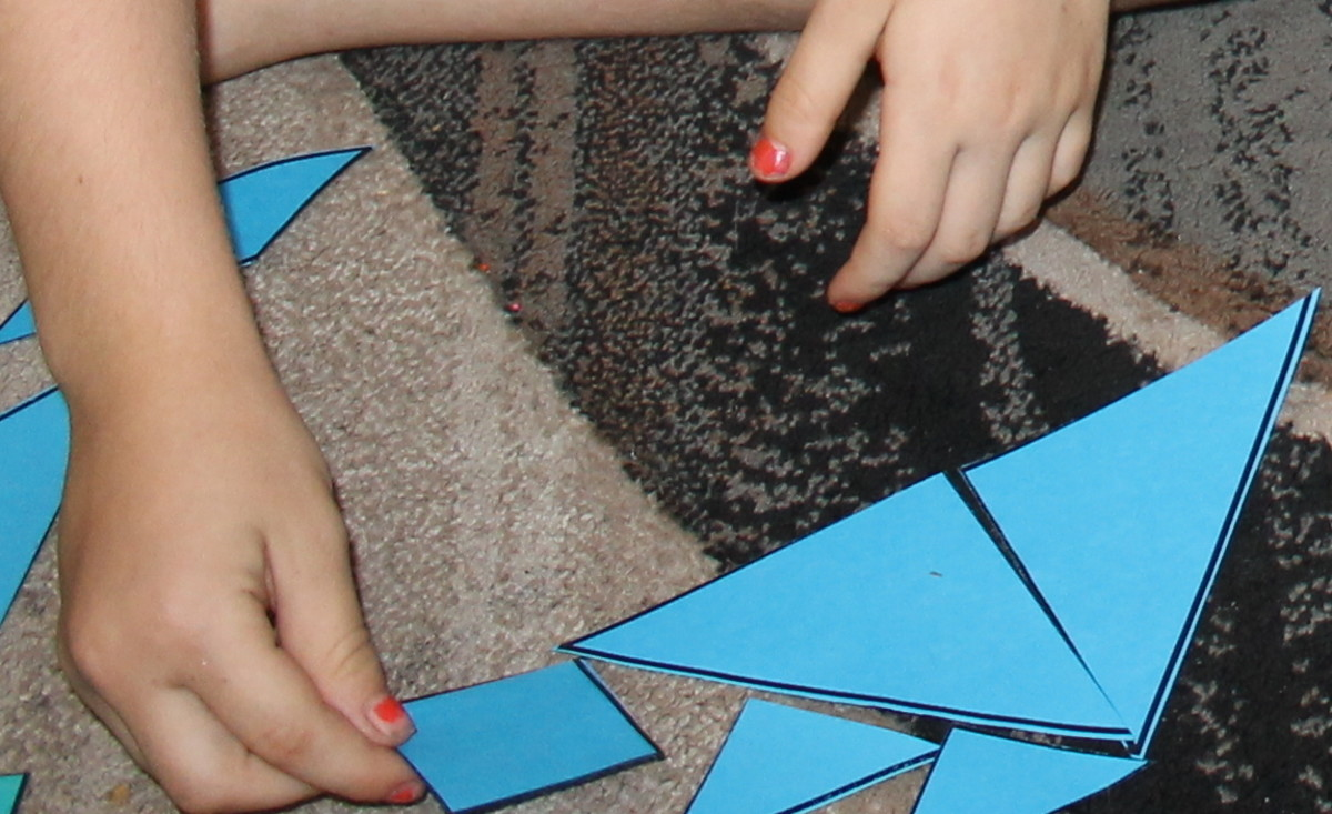Attempting a tangram puzzle