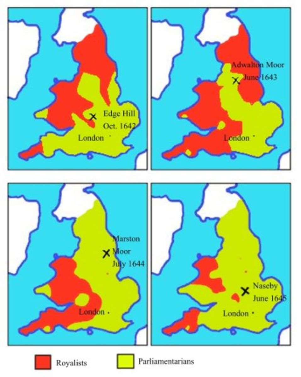 Illustrations showing the Royalist/Parliamentarian areas of England between 1642-1645.