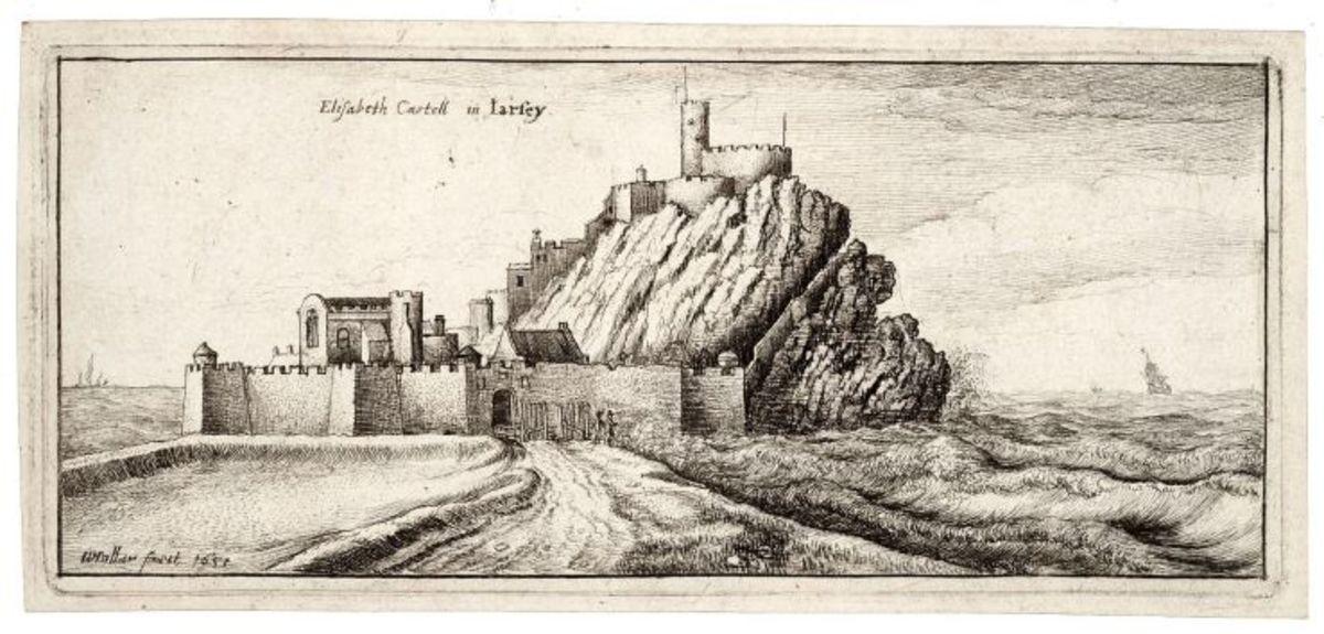Wenceslas Hollar's 1651 sketch of Elizabeth Castle on the island of Jersey.