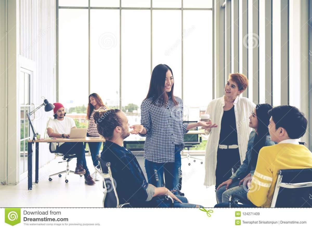 A team communicating at a workplace