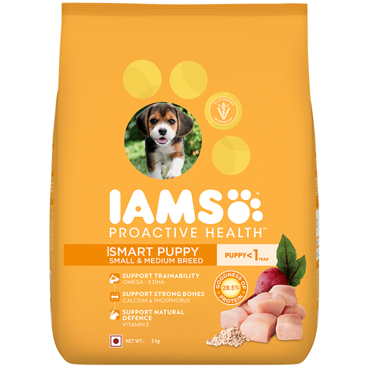 Then I switched to this food which is less expensive than royal canin and my puppies enjoyed it. IAMS brand provides a wide range of different foods for different dogs so that puppies of all shapes, sizes and breeds can have optimum growth.