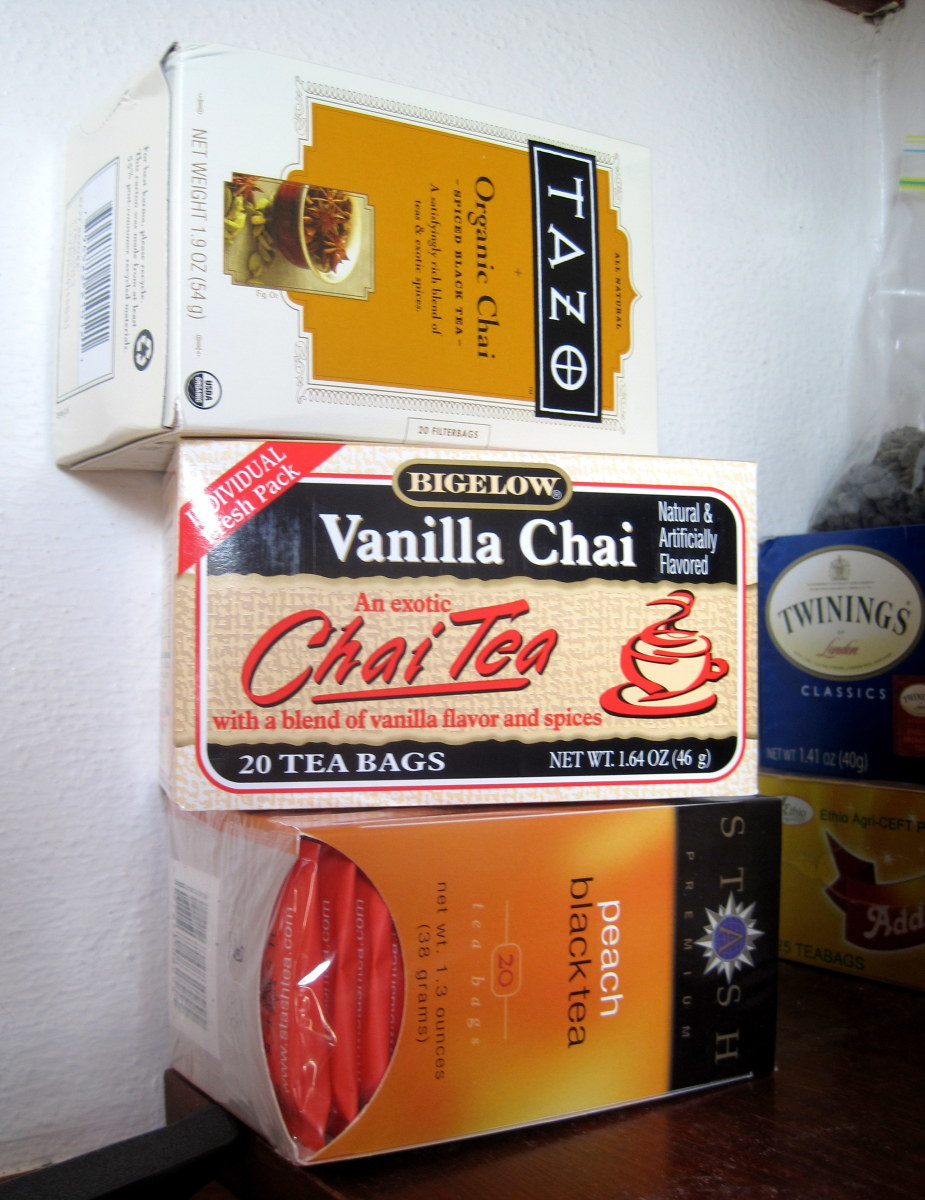 We keep spare boxes of tea stacked in the pantry.