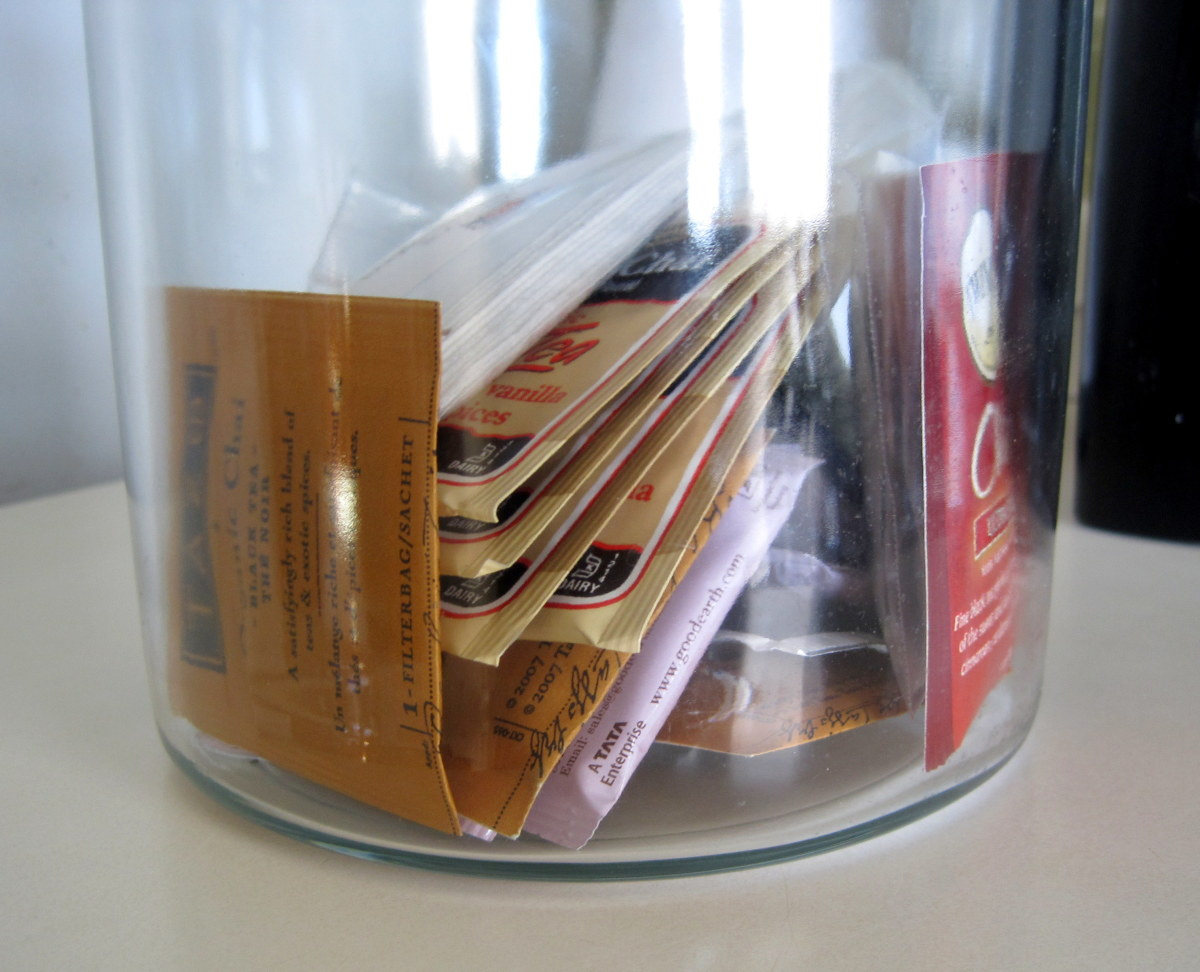 We keep most of our teabags in two glass canisters for easy access.