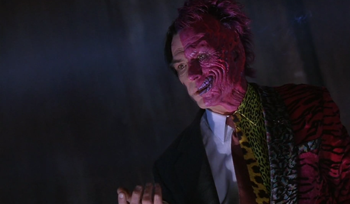 """Jones is horribly miscast as Two Face, especially compared to the version of the character seen in """"The Dark Knight""""."""