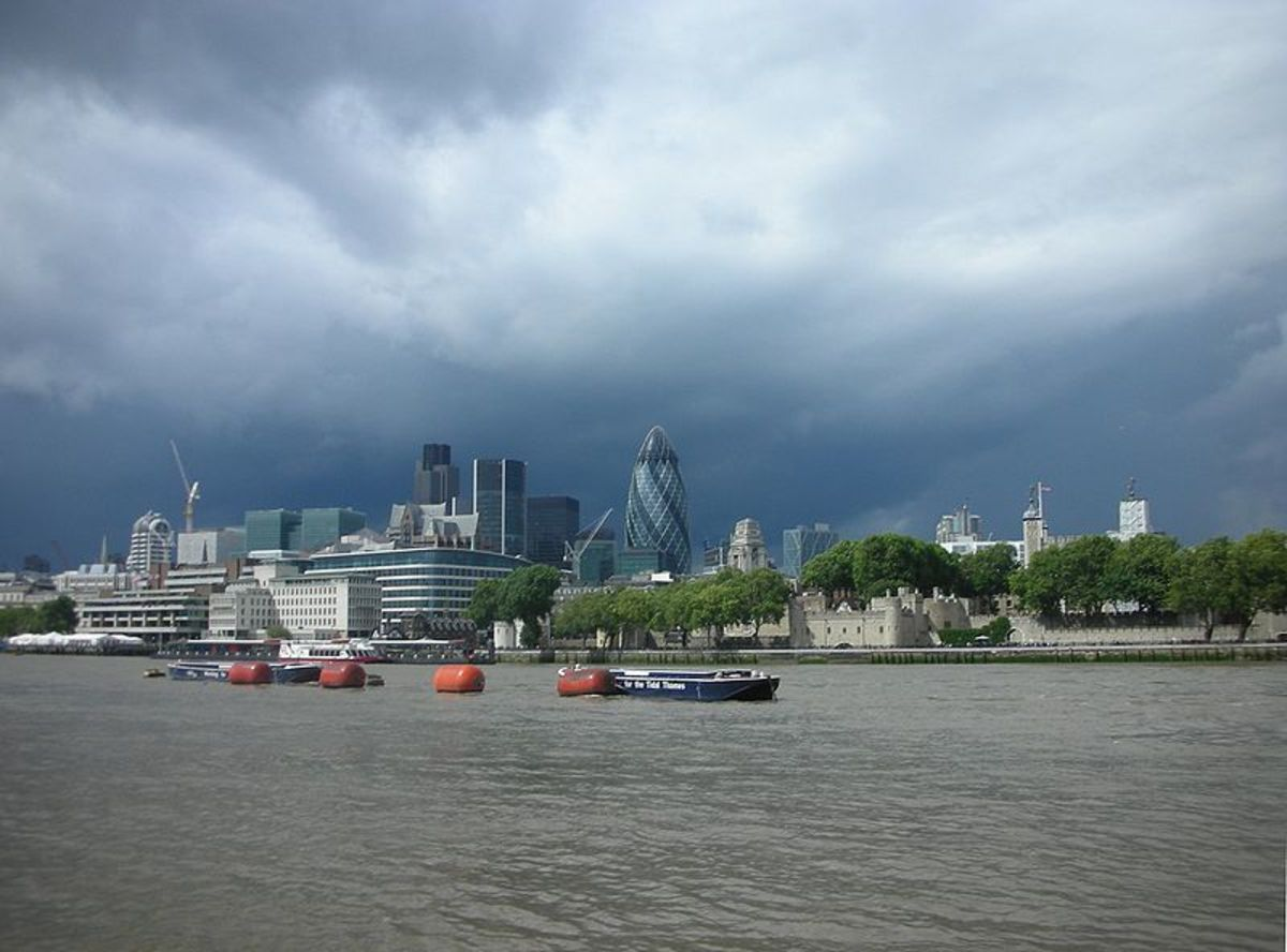 London skyline from the Thames River