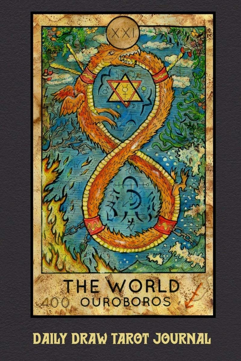 The World card relies on a significant number of myths. In this image, the wreath is an ouroboros, an ancient symbol of a serpent eating its own tail. It's a popular image in alchemy.