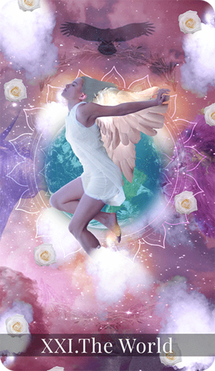 The World card is a positive one. It relates to the positive features of the Universe. It encourages a belief in heaven.