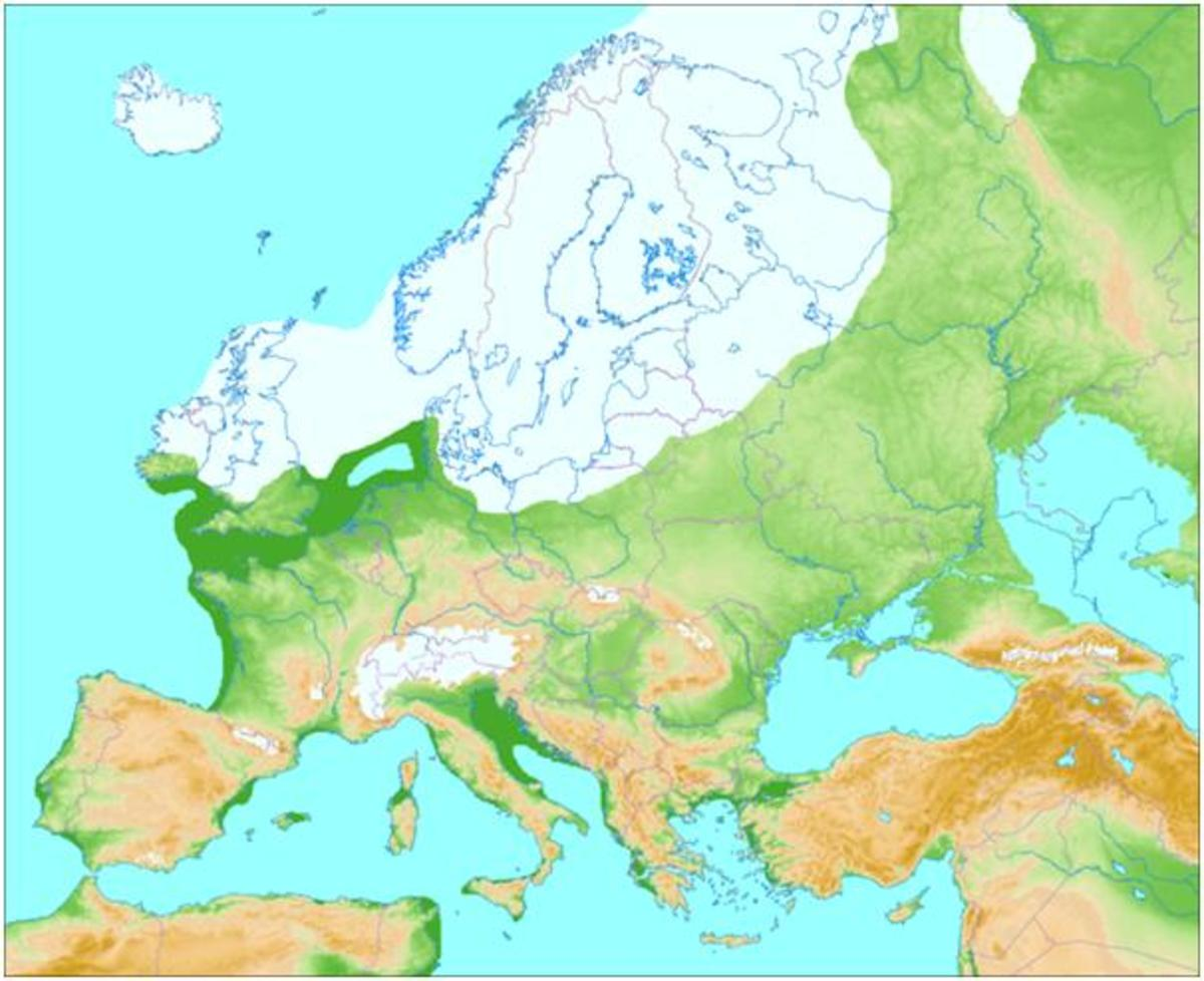 Image shows European Land Mass, up to 15,000 years ago. The lands off the coast of Cornwall would have been above sea level at this point.