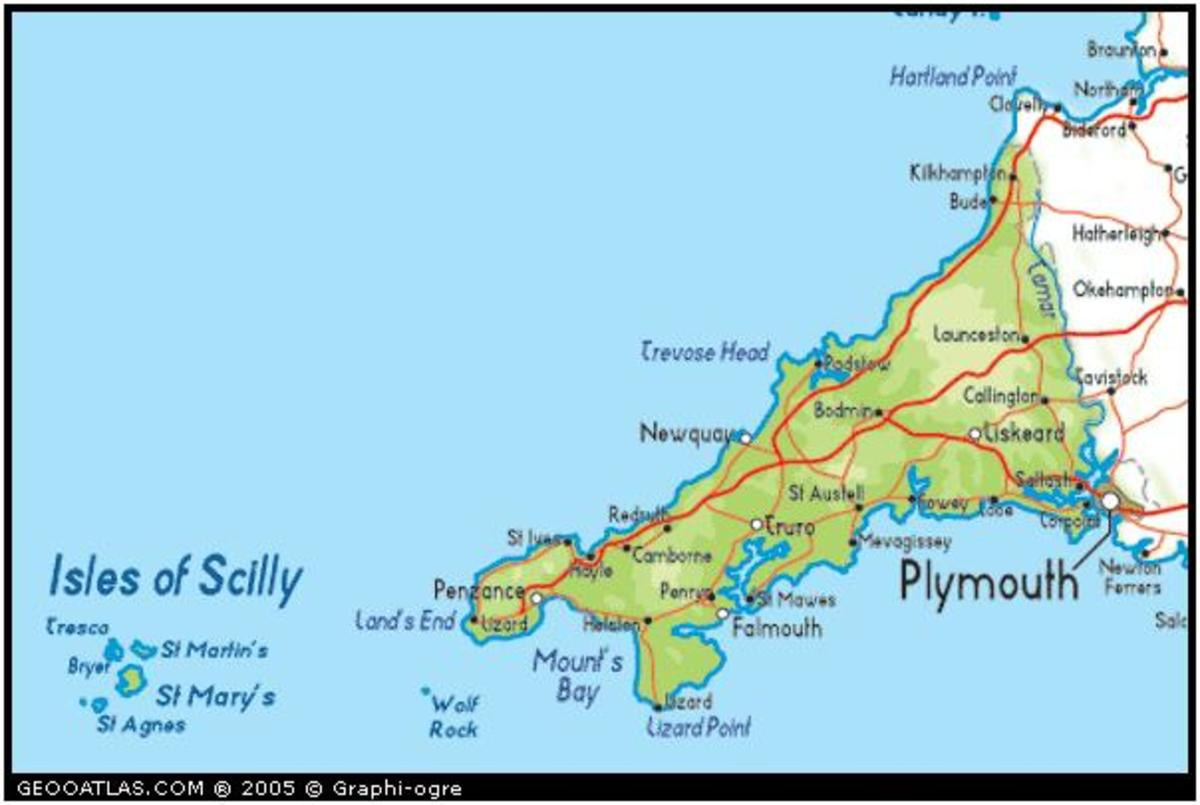Image showing the Isles of Scilly, and Cornwall, the most south-westerly point of the British Isles.