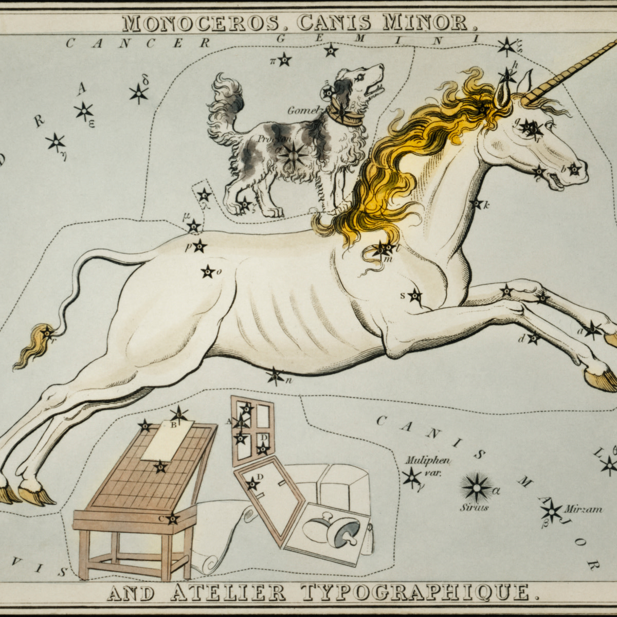 Astronomical chart illustration of the Monoceros, Canis Minor and the Atelier Typographique by Sidney Hall.