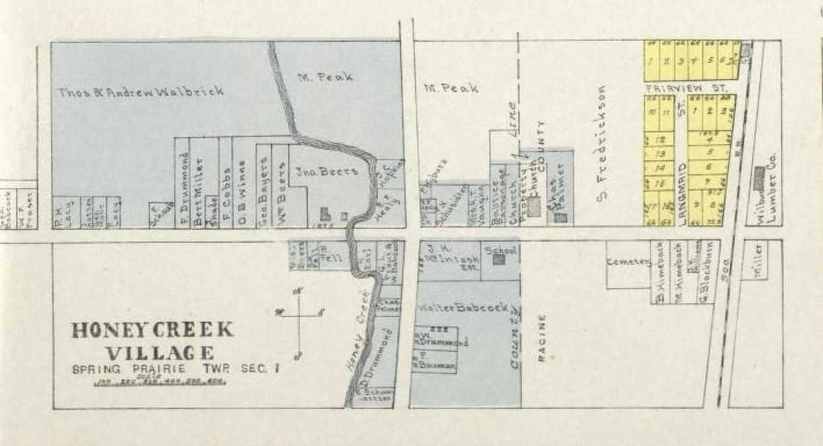 Map of Honey Creek Village with the location of the school marked. This map is from c. 1930.