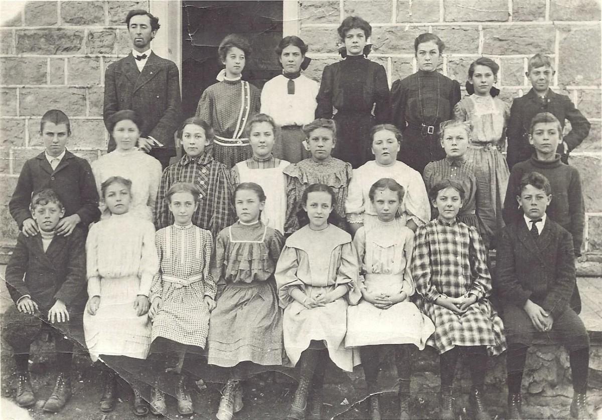 Honey Creek School Teacher and Students Circa 1906