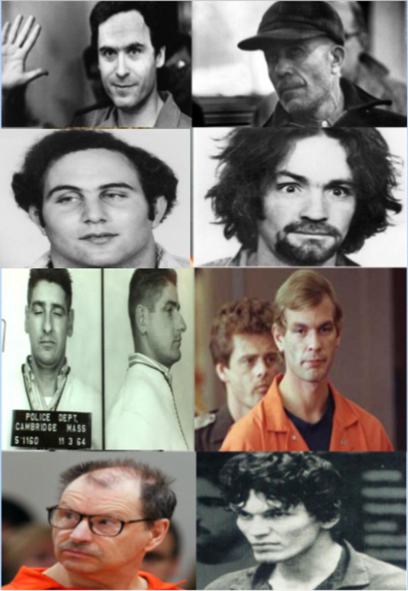 Top left to bottom right: Ted Bundy, Ed Gein, David Berkowitz, Charles Manson, Albert DeSalvo, Jeffrey Dahmer, Gary Ridgway, and Richard Ramirez