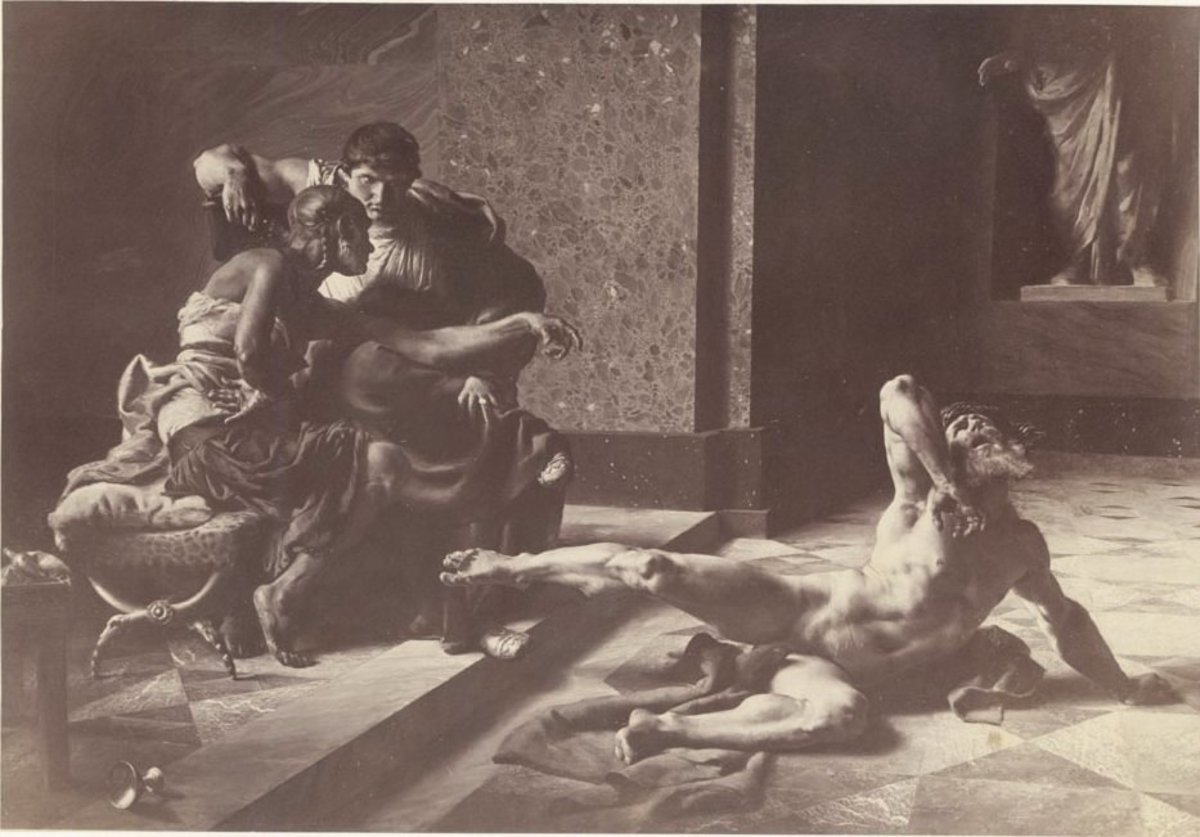 Locusta, Ancient Rome's most infamous poisoner, depicted here trying out poisons on hapless victims with Emperor Nero.