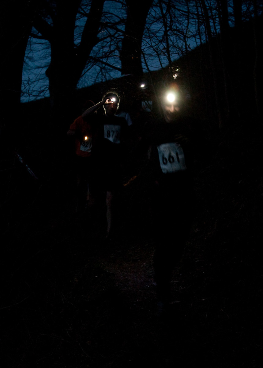 Runners at the Mighty Deerstalker Obstacle Race Event need their head torch to navigate the tricky course